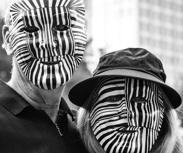 Photograph -  Zebra Masks At The Day Of The Dead Parade by Robin Zygelman