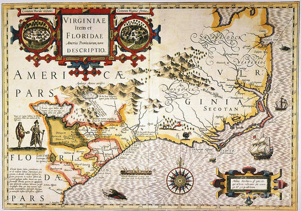 Painting - Map: Colonial America, by Granger
