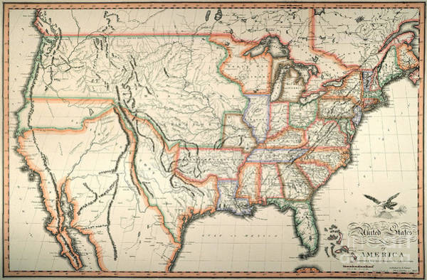 Louisiana Purchase Painting - Map: United States, 1820 by Granger