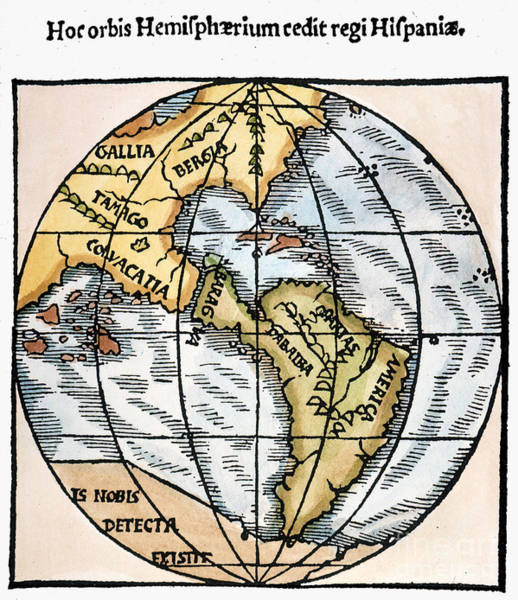 Painting - World Map, 1529 by Granger