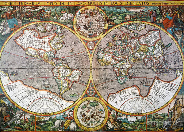 Painting - World Map, 1607 by Granger