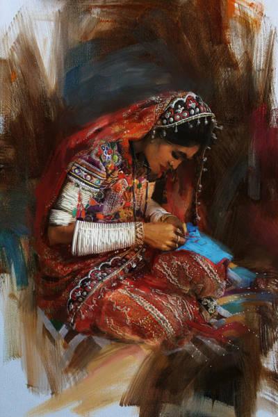 Ajrak Painting - 001 Sindh by Mahnoor Shah