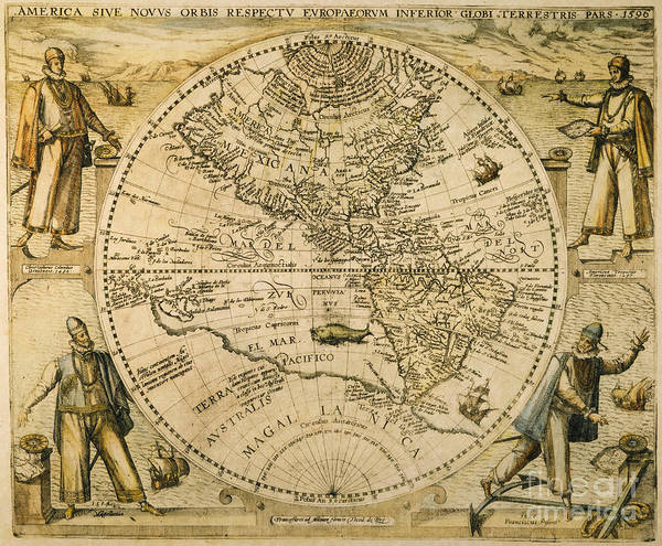 Painting - W. Hemisphere Map, 1596 by Granger