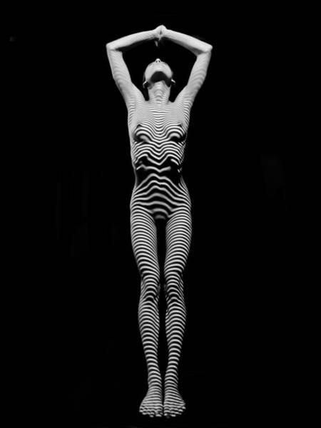 Photograph - 0029-dja Light Above Illuminates Zebra Striped Woman Slim Body Black And White Fine Art Chris Maher by Chris Maher