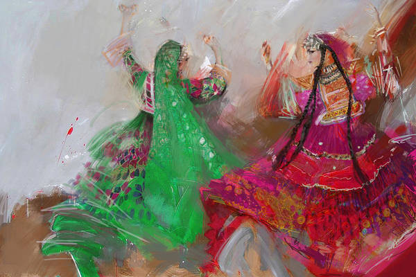 Traditional Dances Painting - 003 Pakhtun B by Maryam Mughal