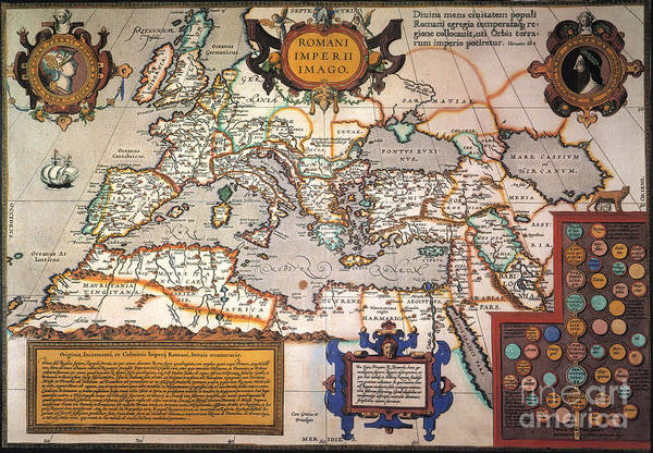 Aod Wall Art - Painting - Map Of The Roman Empire by Granger