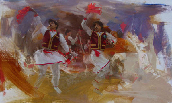 Traditional Dances Painting - 004 Pakhtun B by Maryam Mughal