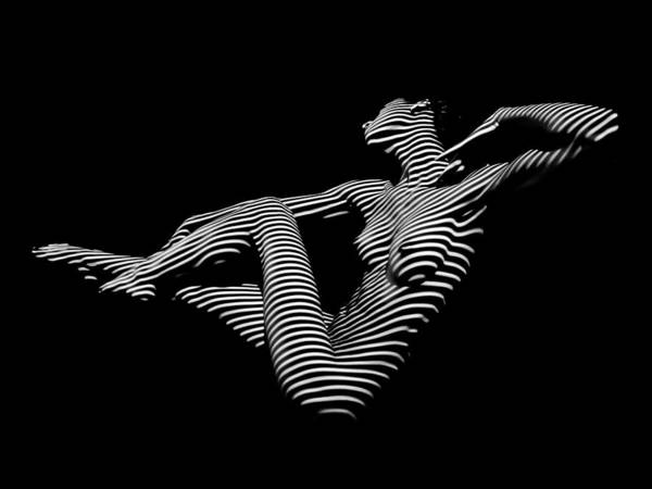 0043-dja Bw Zebra Woman Striped Girl Topographic Abstract Sensual Body Art Art Print