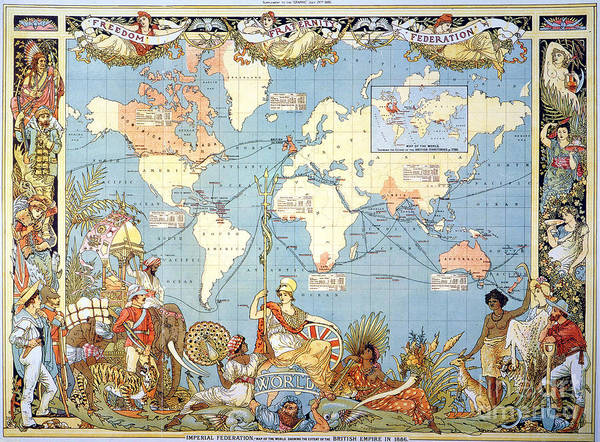 Aod Painting - Map: British Empire, 1886 by Granger