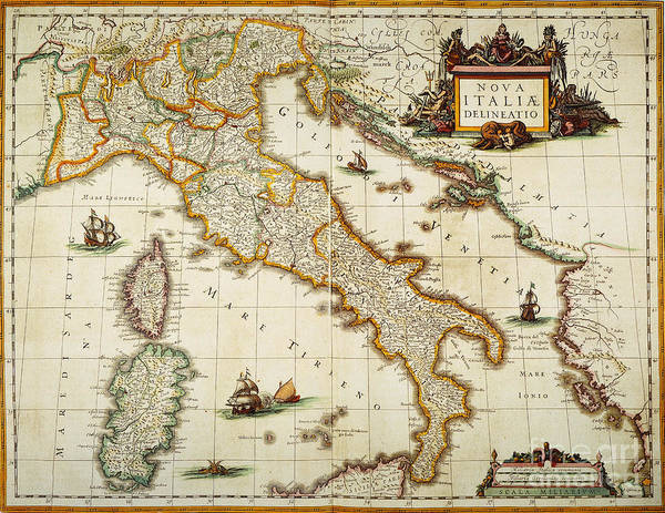 Painting - Map Of Italy, 1631 by Granger