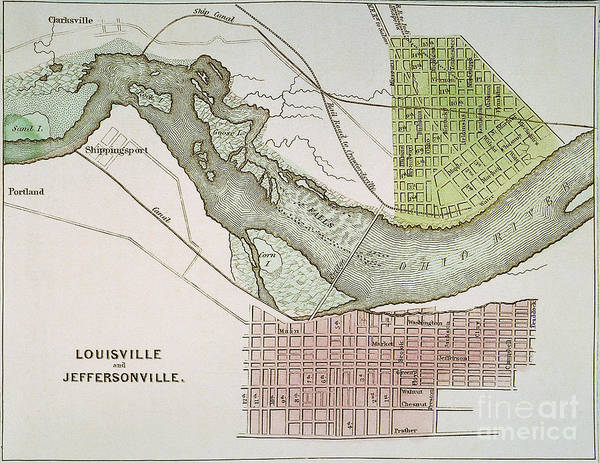 1837 Painting - Jeffersonville, Indiana: Map by Granger