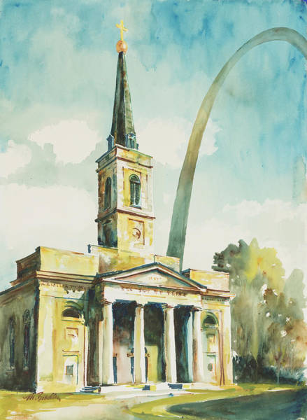 St Louis Arch Painting - 006 Old Cathedral  by Marilynne Bradley