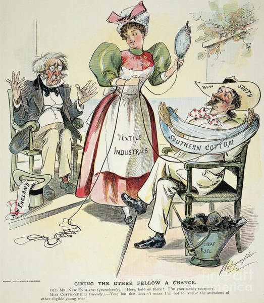 Political Cartoon Painting - New South Cartoon, 1895 by Granger