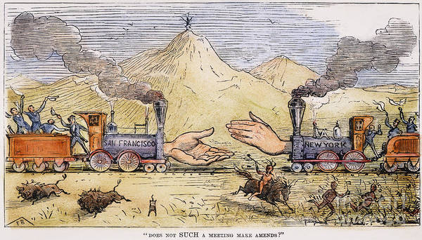 Political Cartoon Painting - Promontory Point, 1869 by Granger