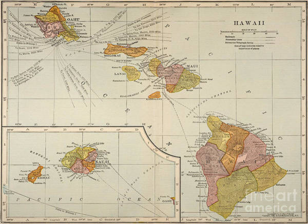 Turn Of The Century Painting - Map: Hawaii, 1905 by Granger