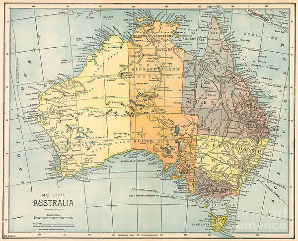 Aod Painting - Map: Australia, C1890 by Granger