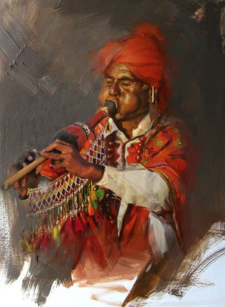 Ajrak Painting - 022 Sindh by Mahnoor Shah