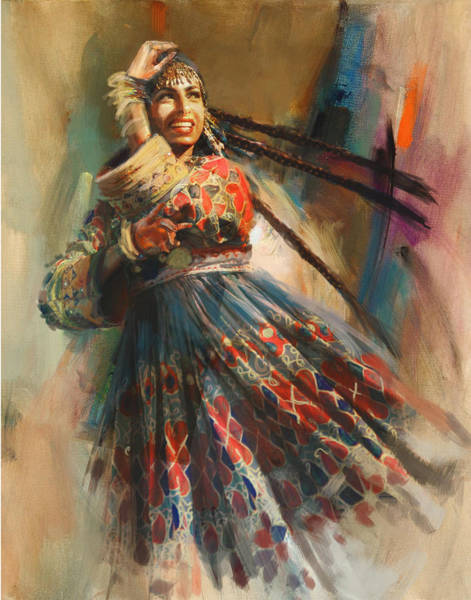 Traditional Dances Painting - 010 Pakhtun B by Mahnoor Shah