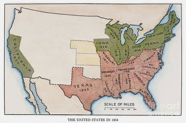 Painting - United States Map, 1854 by Granger