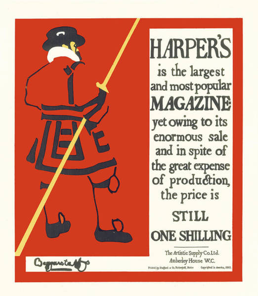 Painting - Harpers Magazine by Beggarstaffs