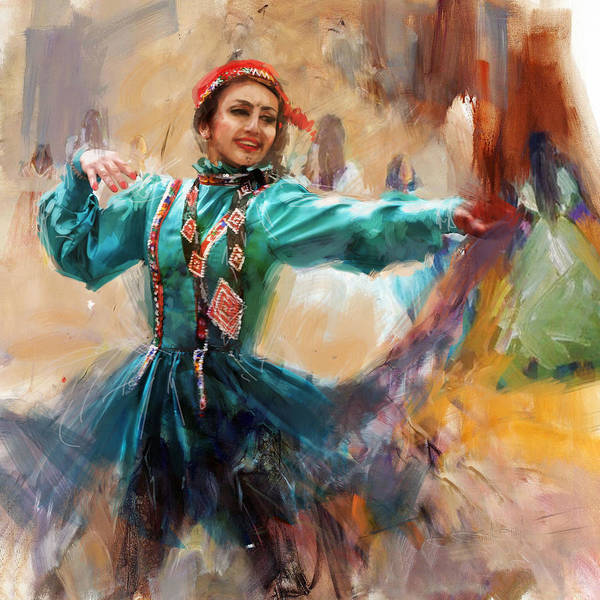 Traditional Dances Painting - 011 Pakhtun B by Mahnoor Shah