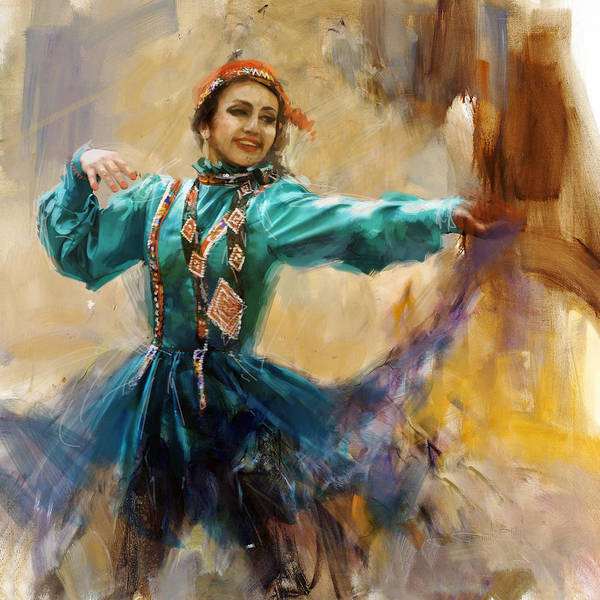 Traditional Dances Painting - 011 Pakhtun by Mahnoor Shah