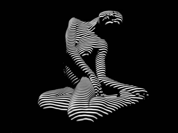 Photograph - 0111-dja Languid Seated Zebra Woman Black White Striped Abstract Photograph by Chris Maher