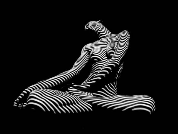 Photograph - 0174-dja Lotus Zebra Woman Sensual Feminine Black And White Figure Study by Chris Maher