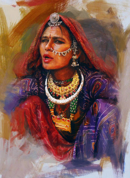 Ajrak Painting - 027 Sindh by Mahnoor Shah