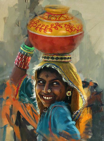 Ajrak Painting - 028 Sindh by Mahnoor Shah