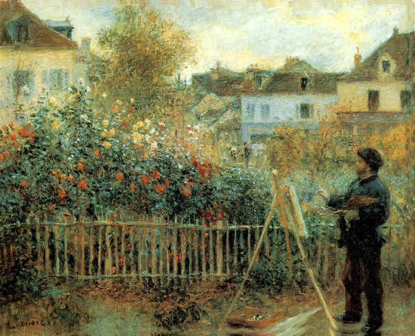 Painting - Monet Painting In His Garden In Argenteuil by Pierre Augusta Renoir