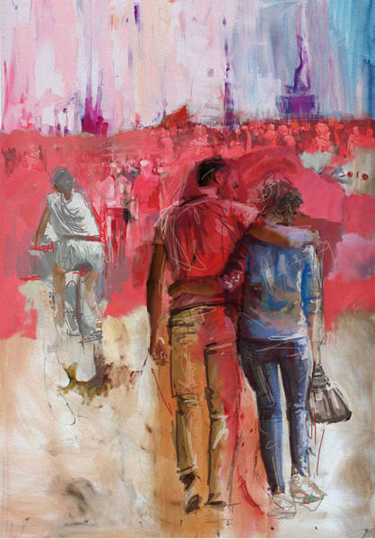 Art In America Painting - 057 Newyork Lovers by Maryam Mughal