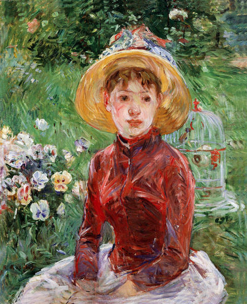 Wall Art - Painting - Young Girl On The Grass by Berthe Morisot