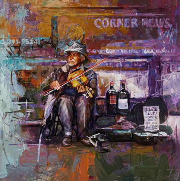 Violinist Wall Art - Painting - 067 Ny Subway Station by Maryam Mughal