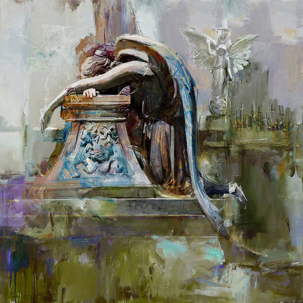Grief Wall Art - Painting - 069 Angel Of Grief Glenwood Cemetery-washington Avenue Road Houston Texas by Maryam Mughal