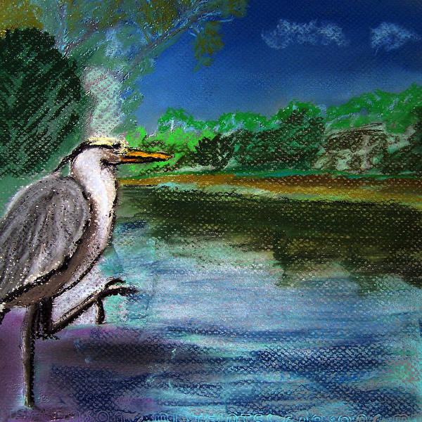 Painting - 071115 Blue Heron Pastel Sketch by Garland Oldham