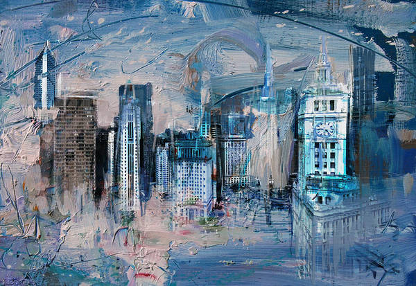 Maryam Wall Art - Painting - 072 Wrigley Buildings In Chicago. by Maryam Mughal