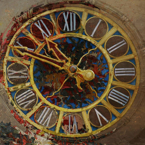 Clock Tower Painting - 082 Tiffany Clock by Mahnoor Shah