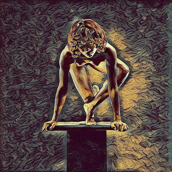 Digital Art - 0948s-zak Dancer Balanced On Pedestal In The Style Of Antonio Bravo  by Chris Maher