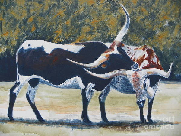 Longhorn Painting - 0ld Texas Two Step by David Ackerson