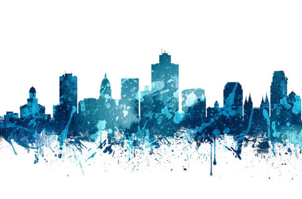 Wall Art - Painting -  Salt Lake City Utah Skyline 19 by Aged Pixel
