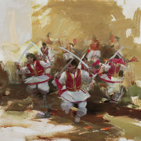 Traditional Dances Painting - 006 Pakhtun B by Maryam Mughal