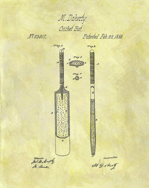 Drawing - 1859 Cricket Bat Patent by Dan Sproul