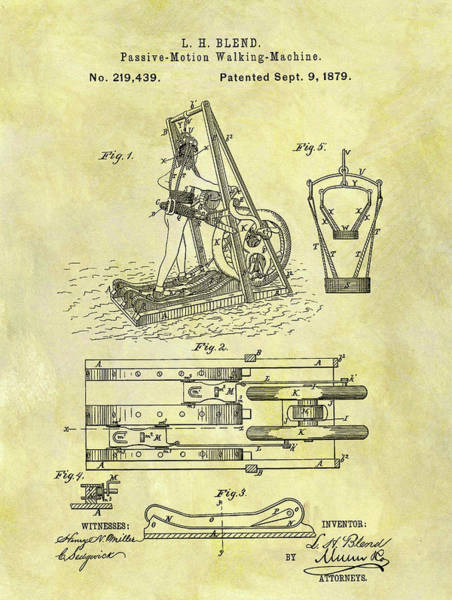 Fitness Mixed Media - 1879 Treadmill Patent by Dan Sproul