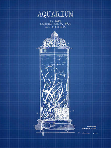 Wall Art - Digital Art - 1902 Aquarium Patent - Blueprint by Aged Pixel