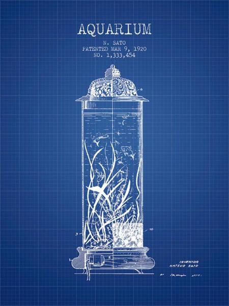 Aquarium Digital Art - 1902 Aquarium Patent - Blueprint by Aged Pixel