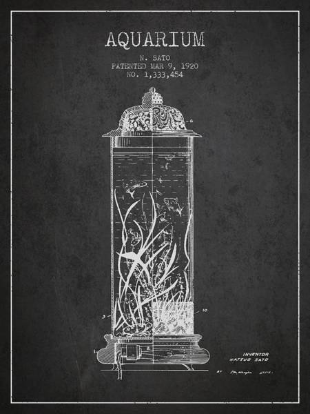 Wall Art - Digital Art - 1902 Aquarium Patent - Charcoal by Aged Pixel