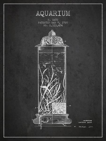 Aquarium Digital Art - 1902 Aquarium Patent - Charcoal by Aged Pixel