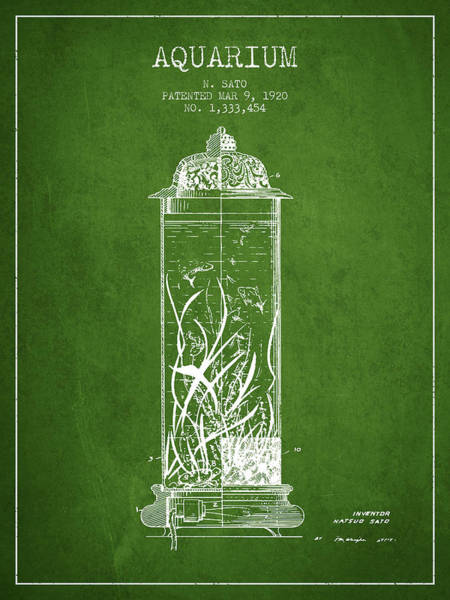 Wall Art - Digital Art - 1902 Aquarium Patent - Green by Aged Pixel