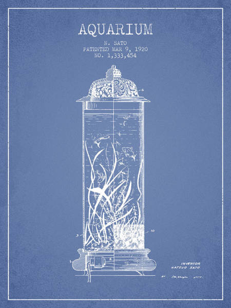 Wall Art - Digital Art - 1902 Aquarium Patent - Light Blue by Aged Pixel